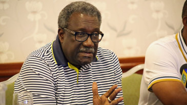 Clive Lloyd speaks during an announcement of West Indies' training squad