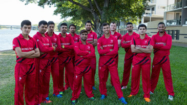 The Hong Kong squad pose ahead of the World Twenty20 Qualifier