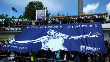 A banner is unfurled hailing James Anderson's 400th Test wicket