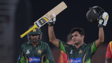 Azhar Ali acknowledges the crowd's cheers after scoring his second ODI hundred