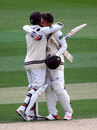 Jason Roy gets a hug from Steven Davies after making a hundred, Surrey v Lancashire, County Championship, Division Two, The Oval, 2nd day, June 1, 2015
