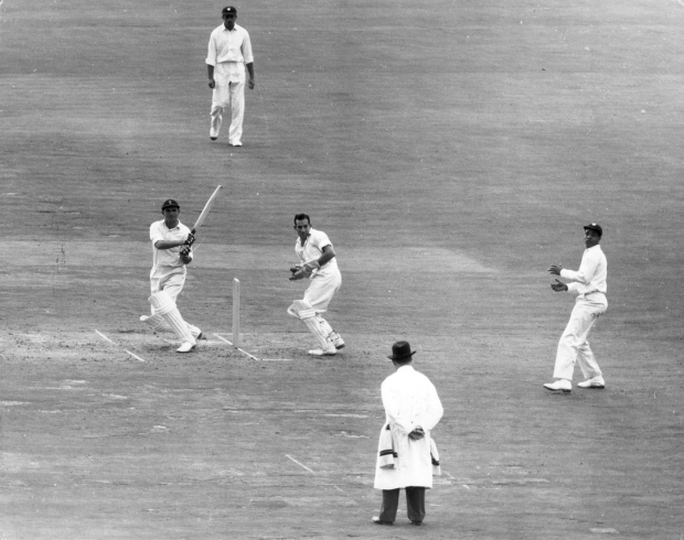 Tom Graveney pulls, fifth Test, England v West Indies, first day, The Oval, August 22, 1957