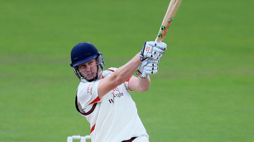 James Faulkner drives down the ground during his maiden first-class hundred