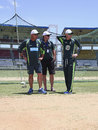Darren Lehmann, Mark Waugh and Michael Clarke inspect the pitch, Roseau, June 2, 2015