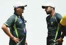 Mark Waugh, the Australia selector, has a word with Fawad Ahmed, Roseau, June 2, 2015
