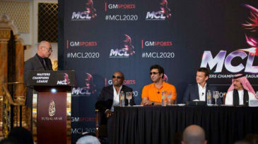 Danny Morrison, Brian Lara, Wasim Akram and Adam Gilchrist at the launch of the Masters Cricket League