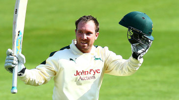 Brendan Taylor celebrates his century on his Championship debut