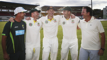 Five Australians who made centuries on Test debut: (From L-R) Fielding coach Greg Blewett, captain Michael Clarke, Adam Voges, Shaun Marsh and national selector Mark Waugh