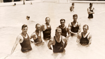Members of the England team in a pool