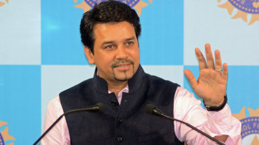 BCCI secretary Anurag Thakur addresses the media
