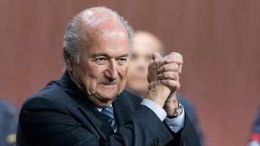 Sepp Blatter celebrates his election as FIFA president at the 65th FIFA Congress