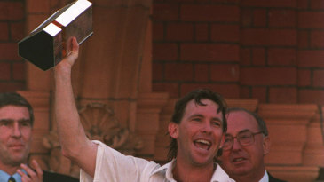 Dermot Reeve holds aloft the NatWest Trophy in 1995