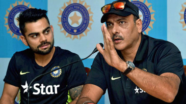 Virat Kohli and Ravi Shastri talk to the media before India's departure for Bangladesh
