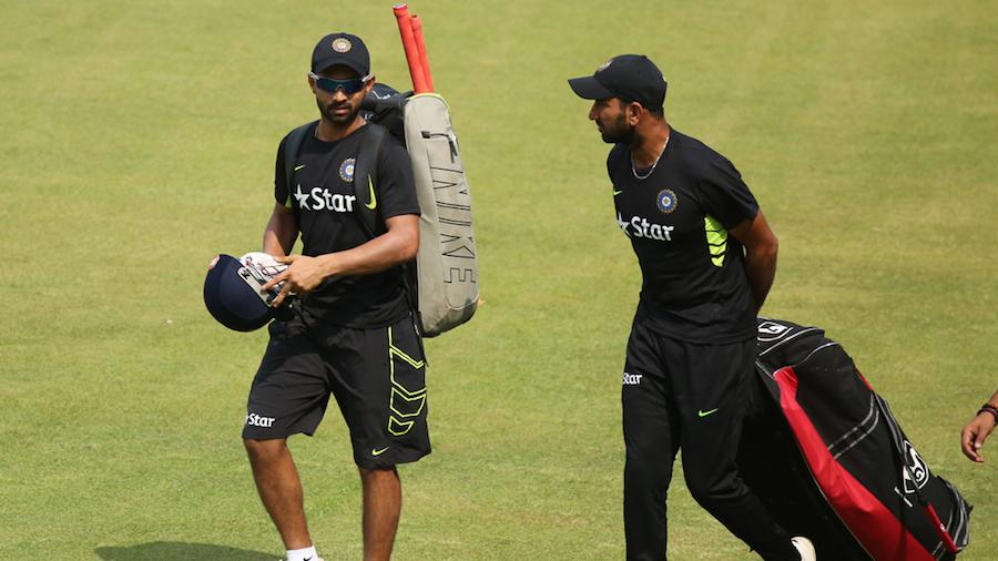 Ajinkya Rahane and Cheteshwar Pujara head out for the nets