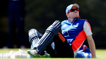 Eoin Morgan takes a breather during England's net session