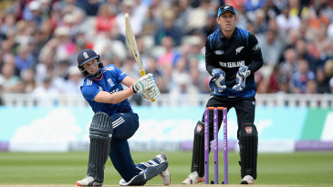 Joe Root goes over the leg side during his aggressive hundred