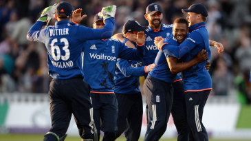 Chris Jordan picked up the final wicket as England closed out a big win