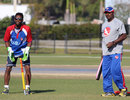 Akeem Dodson and former India seamer Thiru Kumaran at a USA training session, March 29, 2013