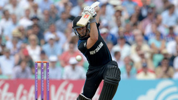 Kane Williamson comes forward into a cover drive