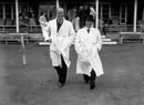 Umpires Andy Ducat and Bert Strudwick stride out for a charity match, Rudgwick, June 19, 1939
