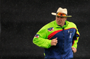 Umpire Martin Saggers runs off, Netherlands v Worcestershire, Clydesdale Bank 40, The Hague, June 8, 2012