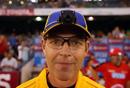 Umpire Simon Fry models the umpire cam, Melbourne Renegades v Melbourne Stars, BBL, Docklands Stadium, Melbourne, December 7, 2012