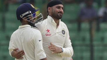Harbhajan Singh took the wicket of Mominul Haque on his Test return