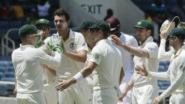 Josh Hazlewood is mobbed by his team-mates