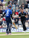 Ben Wheeler made the opening breakthrough to get rid of Alex Hales, England v New Zealand, 3rd ODI, Ageas Bowl, June 14, 2015