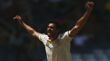 Mitchell Starc exults after dismissing Shane Dowrich