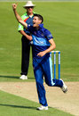 David Payne celebrates a wicket, Bristol, August 26, 2013