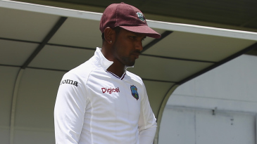 Denesh Ramdin cuts a forlorn figure after his side crumbled to 114 all out
