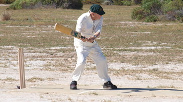 John Rutherford, now in his 80s, shows he can still bat