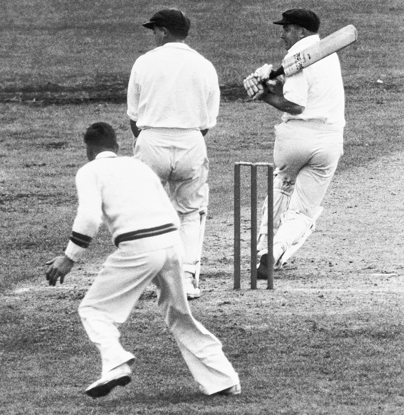 John Rutherford bats during the 1956 England tour - a trip on which he never played a Test