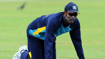 Angelo Mathews during a practice session