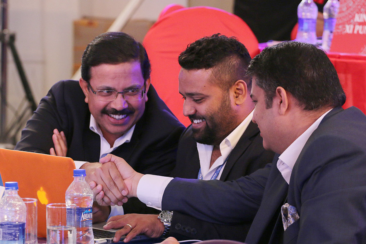 KKR CEO Venky Mysore (far left) and AR Srikkanth (middle) at the IPL auction