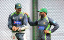 Bowling coach Mushtaq Ahmed chats with ODI captain Azhar Ali at a training session, Galle, June 16, 2015