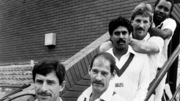 Richard Hadlee, Clive Rice, Kapil Dev, Ian Botham and Malcolm Marshall