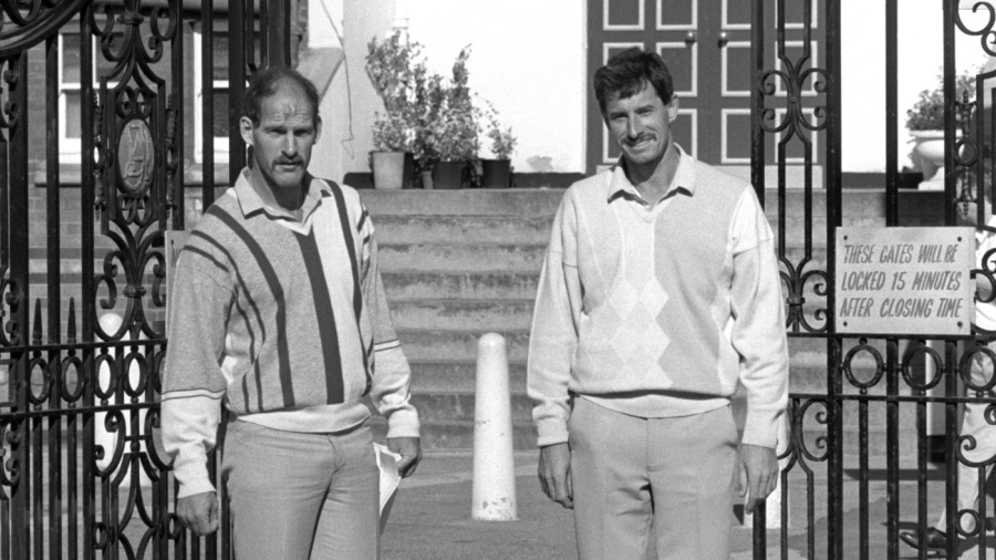 Richard Hadlee and Clive Rice stand at the gates of Trent Bridge