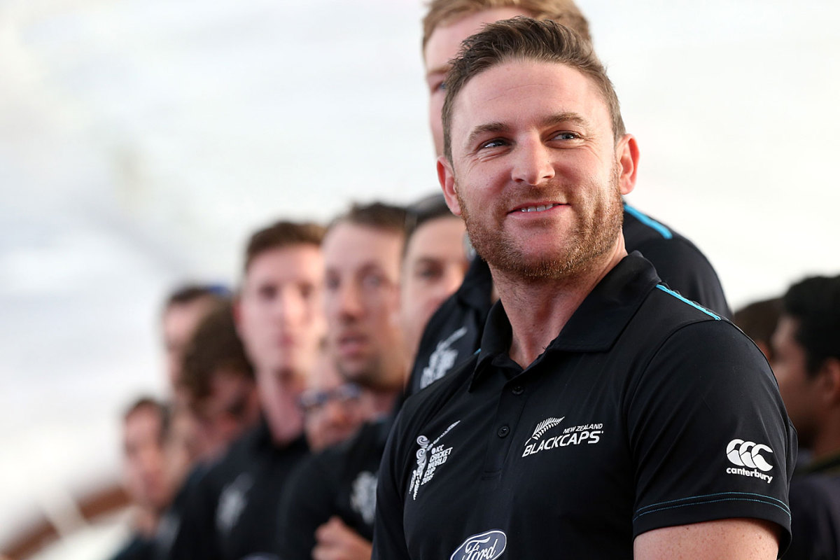 Brendon McCullum and the New Zealand team at the World Cup reception at Queens Wharf