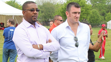 ICC global development manager Tim Anderson with WICB president Dave Cameron