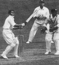 Lala Amarnath on his to 36 against Middlesex. Patsy Hendren is at slip and Fred Price is the wicketkeeper, Middlesex v Indians, Lord's, May 25, 1936