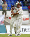 Nasser Hussain and Michael Vaughan celebrate, West Indies v England, 2nd Test, Port of Spain, 4th day, March 22, 2004