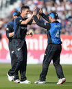 Ben Wheeler gets a couple of high fives from his captain, England v New Zealand, 5th ODI, Chester-le-Street, June 20, 2015