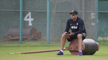 Ravi Shastri looks on during a practice session