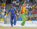 Marchant de Lange appeals unsuccessfully against Dwayne Smith, Barbados Tridents v Guyana Amazon Warriors, CPL 2015, Barbados, June 20, 2015