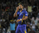 Ravi Rampaul blows a kiss after picking up a wicket, Barbados Tridents v Guyana Amazon Warriors, CPL 2015, Barbados, June 20, 2015