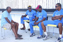 Andy Roberts has a chat with a few West Indies players during a training camp, Antigua, April 8, 2015