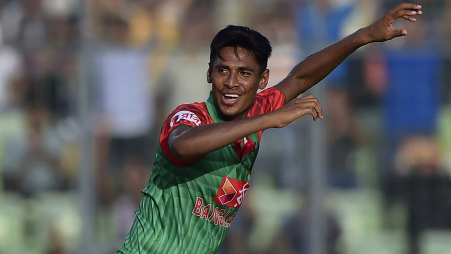 Mustafizur Rahman took two wickets in the 40th over