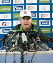 Michael Clarke addresses the media at a press conference, Watford, England, June 21, 2015